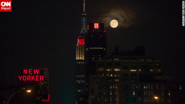 "Mike Chiodo, who professionally goes by <a href='http://ireport.cnn.com/docs/DOC-1152464'>Mikiodo</a>, loved photographing the supermoon so much, he did it two nights in a row. ""Living in New York City, I am always craving some nature; I don't get enough. So I often look to the evening and nighttime skies to get my fix,"" he said."