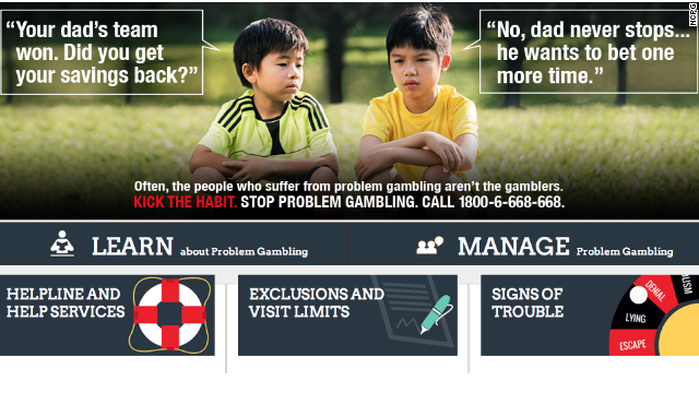 A screenshot of the National Council on Problem Gambling's website shows the organization's new ad.