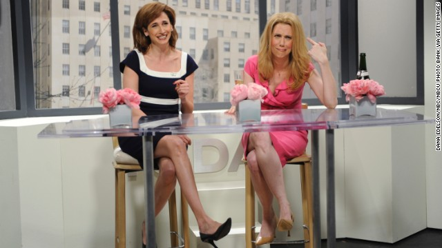 "Michaela Watkins, left, played Hoda Kotb to Kristen Wiig's Kathie Lee Gifford during ""Today"" skits. But that didn't stop Watkins from getting the boot in 2009."