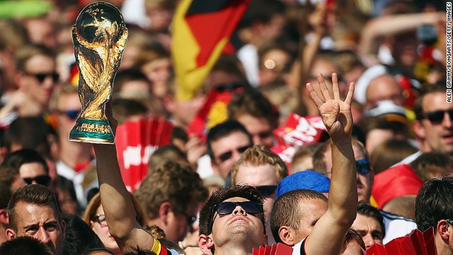 Fans in the German capital of Berlin lined the streets to celebrate Germany's fourth World Cup win.