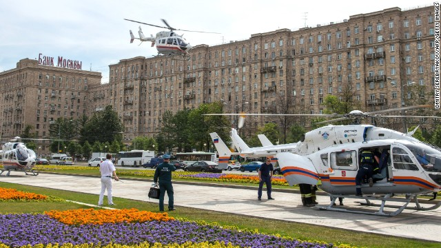 Dozens of ambulances arrived at the scene, along with three helicopters, to help shuttle the injured to hospitals, according to the state-run ITAR-Tass news agency.