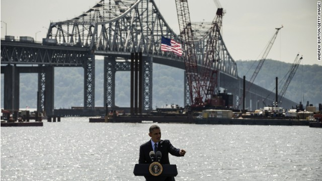 President Obama talks about infrastructure in May at the Tappan Zee Bridge, over the Hudson River. The bridge is being replaced.
