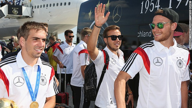 Even with sunglasses on there's no mistaking Mario Goetze (center). The Germany substitute scored the only goal in the World Cup final in extra time to seal victory.