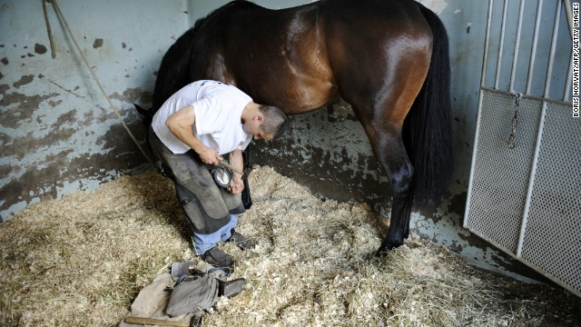 Farriers must work closely around and underneath horses -- they risk being kicked and seriously injured if caught in the wrong place when an animal is spooked.