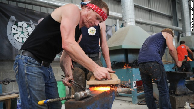 Farriery can be a sport in its own right. Here, farriers at the Great Yorkshire Show compete against each other. Judges look for the quality of metal forging, fitting and finish on the shoe.