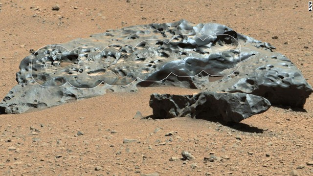 "The rover recently encountered this iron meteorite, which NASA named ""Lebanon."" This find is similar in shape and luster to iron meteorites found on Mars by the previous generation of rovers."