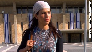 Former Miss Israel Linor Abargil outside the Israeli Parliament in Jerusalem.