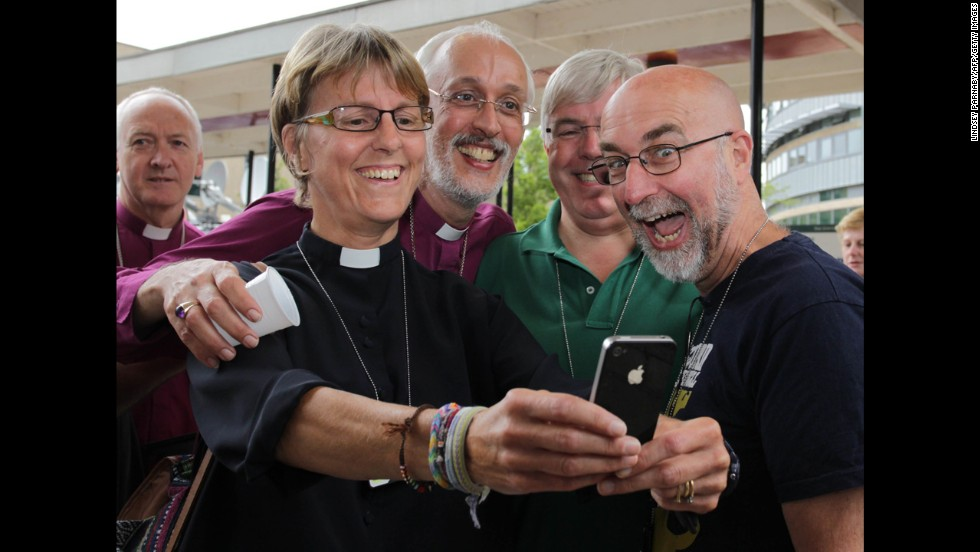 Clergy members in York, England, take a selfie Monday, July 14, after the Church of England announced that it would allow women to become bishops. The <a href='http://www.cnn.com/2014/07/14/world/europe/uk-church-women-bishops/'>legislation was passed</a> at the church's General Synod, the three-times-a-year meeting that sets policies for the church.
