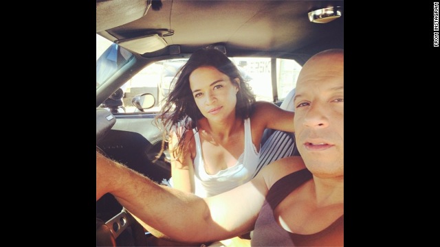 "Actress Michelle Rodriguez posted this photo of her and her ""Fast and Furious"" co-star Vin Diesel on Thursday, July 10. They just finished shooting the seventh movie in the successful film franchise. ""Ride or Die through thick and thin 15 yrs later surreal to think we made it through such a tough painful production,"" <a href='http://instagram.com/p/qSmofdCZut/' target='_blank'>she wrote</a> on her Instagram account."