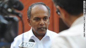 File: Singapore\'s Minister for Foreign Affairs, K. Shanmugam, speaks to the media during his visit to Gujarat, India on May 10, 2012.