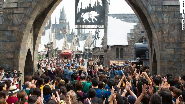 Thousands of fans turned up to be first to experience the new Wizarding World of Harry Potter attraction at Universal Studios Japan on July 15.