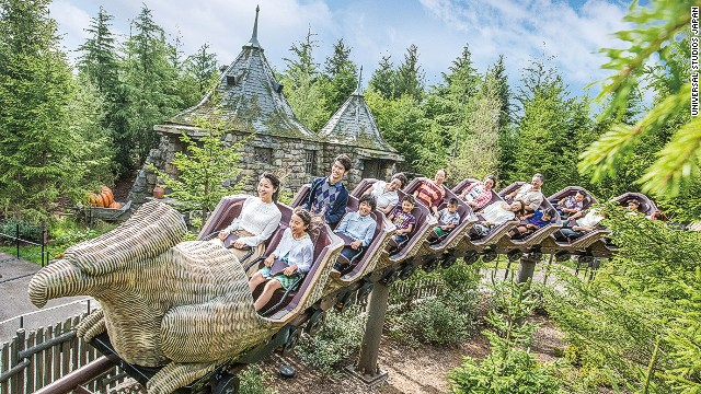 "Universal Studios Japan's Harry Potter attraction has a ""Flight of the Hippogriff"" mini coaster. Guests climb into a Hippogriff -- a winged horse with an eagle head -- and go on a training flight."