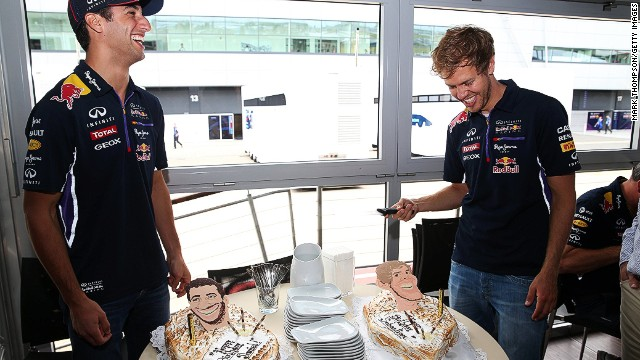 F1 chefs are often called upon to whip up birthday cakes. Red Bull had to ice two in one week as Sebastian Vettel (right) and Daniel Ricciardo were both born in July.