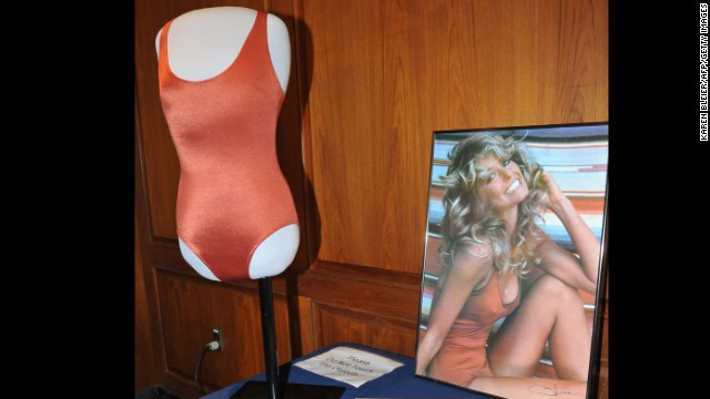 Farrah Fawcett gained international fame when she posed for her memorable red swimsuit poster in 1976.