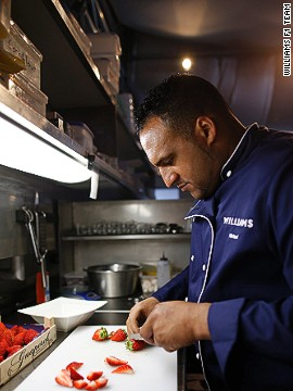 Chef Michael Caines, a partner with the Williams team, brings two Michelin stars to the team's F1 kitchen.
