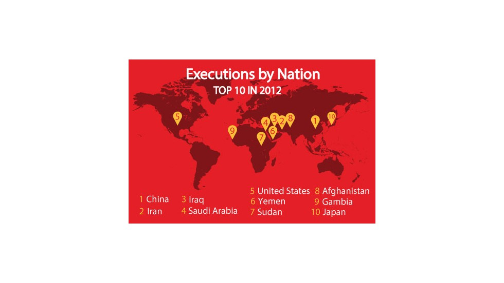 58 nations issued death sentences in 2012