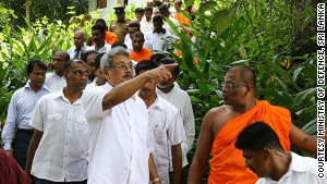 Gotabaya Rajapaksa, Sri Lanka\'s Secretary of Defence, with Gnanasara at a BBS-affiliated Buddhist academy that he officially opened in March last year.