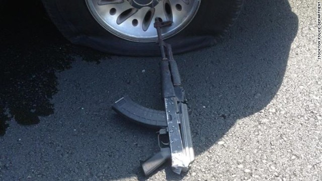 A gun left at the scene after the gunfight.