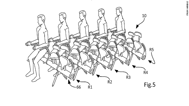 Airbus's patented saddle seats: No word yet on whether the in-flight menu will feature sardines.