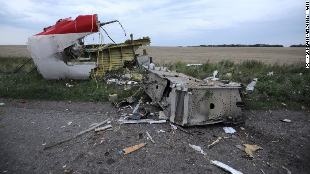 Debris from the Boeing 777, pictured on July 17.