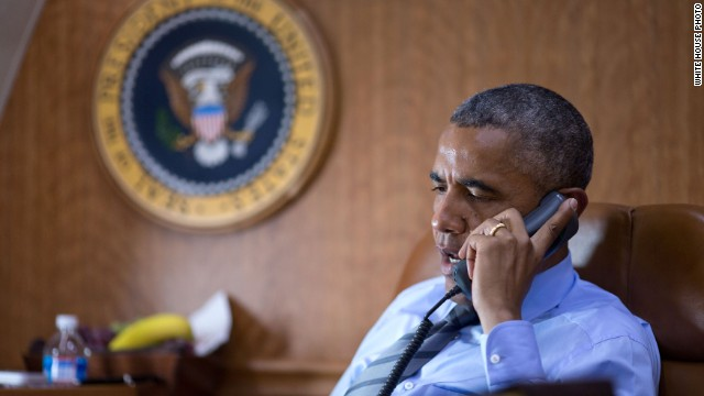 President Barack Obama calls Ukrainian President Petro Poroshenko about the Malaysian airliner downed in eastern Ukraine.