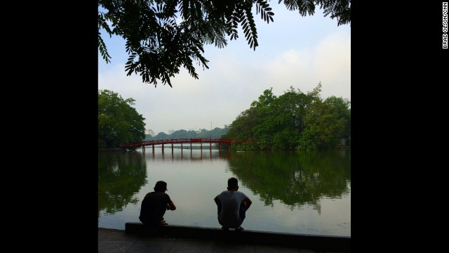 "HANOI, VIETNAM: ""Early morning fishing at Hoan Kiem lake in Hanoi. The streets were teeming with people out for their morning constitutional. Its the only time of the day that it's cool."" - CNN's Brad Olson, July 18. Follow Brad (<a href='http://instagram.com/cnnbrad' target='_blank'>@cnnbrad</a>) and other CNNers along on Instagram at <a href='http://instagram.com/cnn' target='_blank'>instagram.com/cnn</a>."