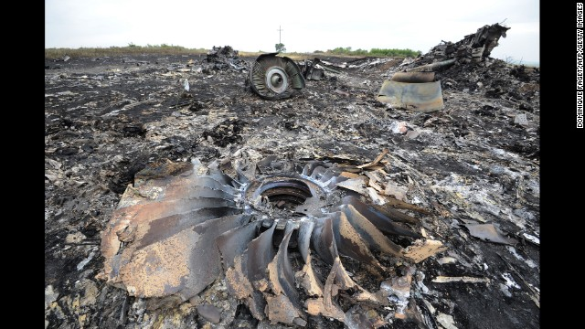 Wreckage from the Boeing 777 lies on the ground July 18.