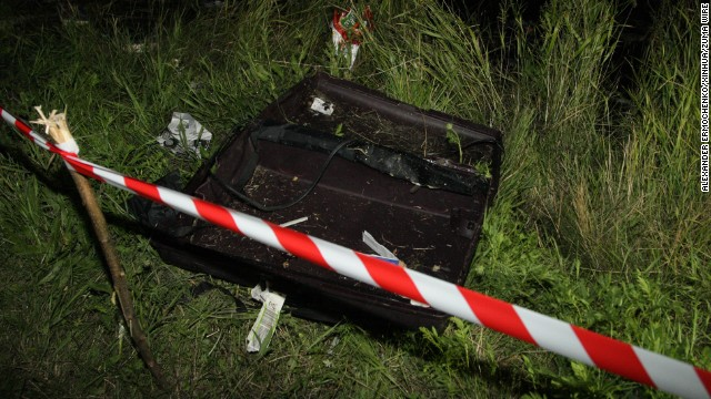 An empty suitcase is cordoned off near the plane's impact site on July 17.