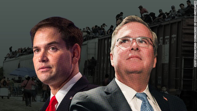 Jeb Bush, Rubio lay low on border crisis