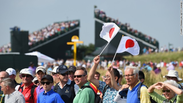 It's not just Scousers -- inhabitants of Liverpool -- attending the Open at Hoylake. This is a global event as these supporters of Japan's golfers out on the course prove.