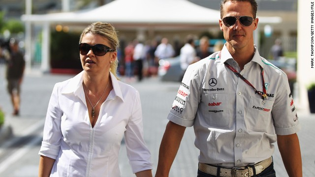 Corinna Schumacher, seen here with Michael in 2011, published a note of thanks in the German Grand Prix official program.