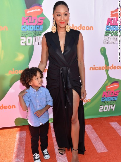 Tia Mowry and her son Cree attend the 2014 Kids' Choice Sports Awards on July 17.