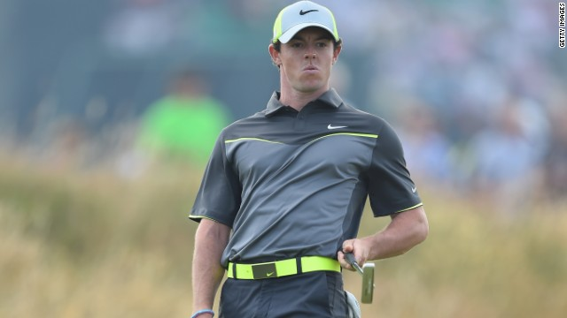 Rory McIlroy reacts to a putt on the seventh hole during the second round of The 143rd Open Championship at Royal Liverpool. The Northern Irishman leads the field at 12-under-par.