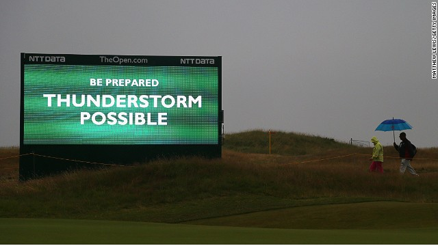 Bad weather threatened to disrupt the third round, but the predicted thunderstorms skirted the course located on England's northwest coast. As a precaution, tournament officials started play early on Saturday with players teeing off from both the first and 10th holes -- a first in Open Championship history.
