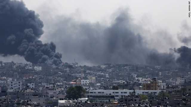 Smoke rises after an Israeli missile hit Shaja'ia on July 20.