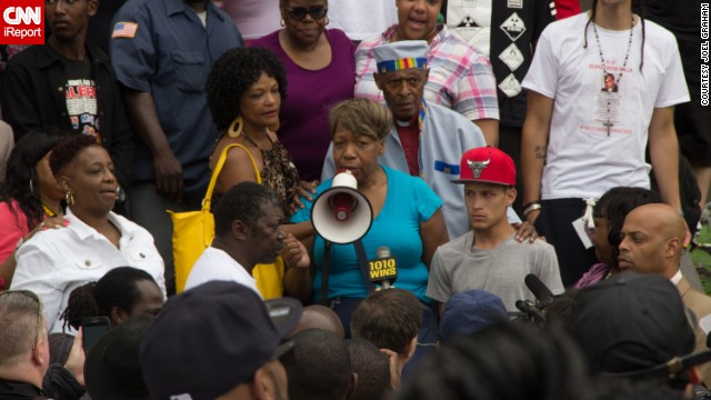 Garner's mother, Gwen Carr, speaks at the July 2014 demonstration.