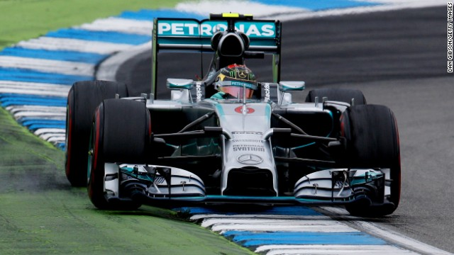 Rosberg led from pole to checkered flag to win his home grand prix and extend his title lead over Mercedes teammate Lewis Hamilton.