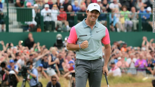 McIlroy sinks the winning putt on the 18th at Hoylake to seal his two-shot triumph at the British Open.