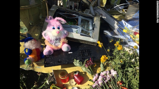 "TOREZ, UKRAINE: ""Candles lit in memory of those who perished. Stuffed toys and other items found in gardens, fields and on the road collected by locals and brought to one spot."" - CNN's Woj Treszczynski, July 20. <a href='http://instagram.com/p/qr_xVUJJbo/?modal=true' target='_blank'>WATCH THE INSTAGRAM VIDEO! </a> Follow Woj (<a href='http://instagram.com/voxpen' target='_blank'>@voxpen</a>) and other CNNers along on Instagram at <a href='http://instagram.com/cnn' target='_blank'>instagram.com/cnn</a>."