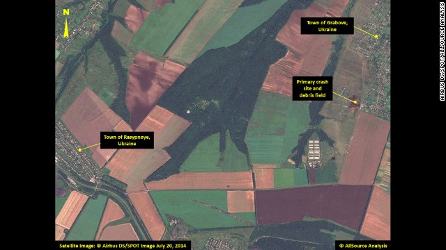This satellite image shows the primary crash site of Malaysia Airlines Flight 17 between the towns of Hrabove (spelled Grabove in Russian) and Rasypnoye, Ukraine. The Boeing 777 was shot down Thursday, July 17, with a surface-to-air missile in Ukrainian territory controlled by pro-Russian rebels. All 298 people aboard died. The satellite imagery was collected on Sunday, July 20, by <a href='http://airbusdefenceandspace.com/' target='_blank'>Airbus Defense & Space</a>, and was analyzed by <a href='http://www.allsourceanalysis.com/' target='_blank'>AllSource Analysis</a>. Click through to see more of the satellite imagery: