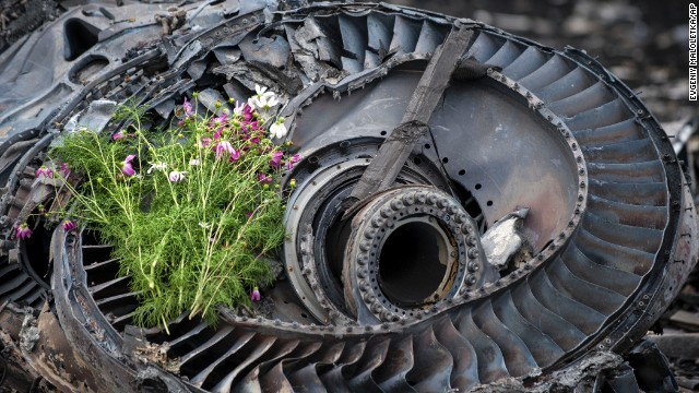 Wildflowers lie on an engine from the crashed jet in eastern Ukraine on Saturday, July 19.