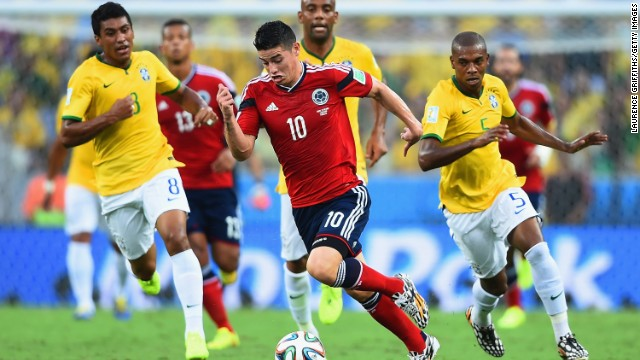 Rodriguez was on the receiving end of some tough tackling as Colombia was beaten 2-1 by host Brazil in the quarterfinals.