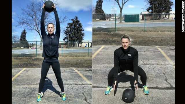 To simulate the downward power and core strength needed for this event, use a heavy medicine ball. With feet slightly wider than shoulder-width apart, reach the heavy ball above your head and stand on your toes to create a stretch. Dropping the hips down and back, force the heavy ball into the floor. Drop into your deep squat to retrieve the ball and return to the starting position.