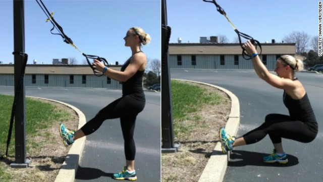 TRX single-leg squats will give you the leg and upper body power needed for this event. With your <a href='https://www.trxtraining.com/' target='_blank'>TRX Suspension Trainer</a> at mid-length, stand facing the anchor point and center one foot. Keeping the working knee in line with your middle toes, lower the hips down and back. Keeping an upright posture, use the suspension trainer and your leg strength to help pull you back to the starting position.