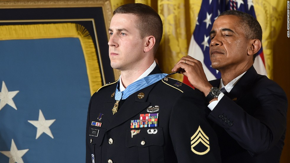 Former U.S. Army Staff Sgt. Ryan J. Pitts receives the Medal of Honor on Monday, July 21, for his actions during a battle in Afghanistan in 2008. According to the Army, Pitts launched grenade after grenade under a hail of enemy gunfire as comrades at other nearby posts fell. He also asked other soldiers to fire at his position to prevent the enemy from gaining ground. Click through to see other Afghanistan veterans who have received the Medal of Honor, the nation's highest award for valor in combat.