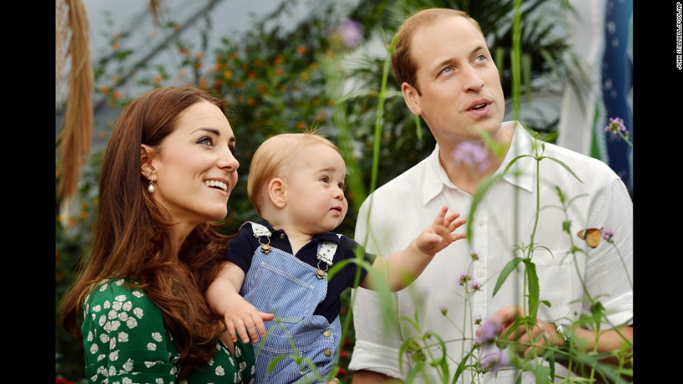JULY 22 - LONDON, ENGLAND: Catherine, Duchess of Cambridge and Prince William visit the Sensational Butterflies exhibition at the Natural History Museum in London with their son, Prince George. <a href='http://cnn.com/2014/07/21/world/europe/prince-george-at-one/index.html'>The future king celebrates his first birthday today.</a>