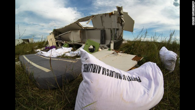 Wreckage from the jet lies in grass near Hrabove on July 21.