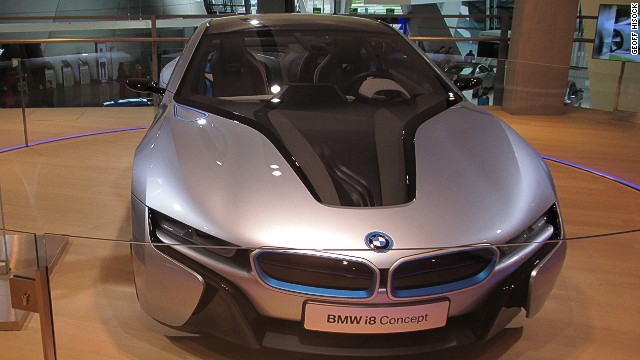 This BMW i8 is a concept sports car built around a hybrid engine. A version of the i8 is due to go on sale in August 2014.