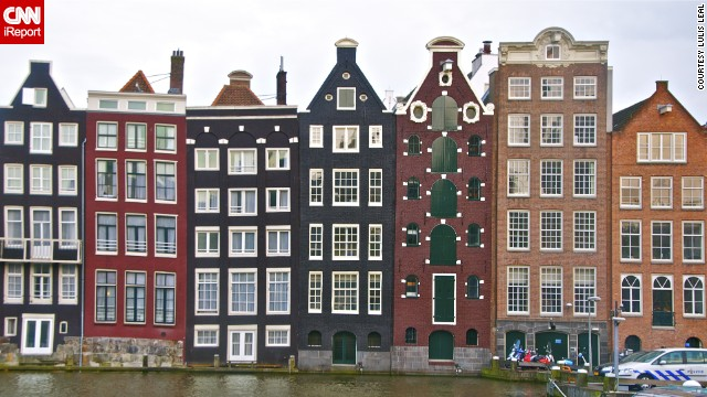 Some homes in Amsterdam are famously narrow, like these canal-side houses photographed by Lulis Leal. The trend of narrow homes dates back to a time when the government taxed residents based on the width of their houses.