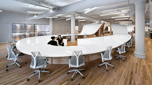 This 1,100-foot continuous desk snakes through the New York offices of creative agency Barbarian Group.